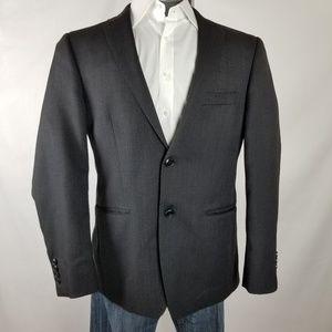 DKNY | Dark Grey/Black Herringbone Wool Blazer